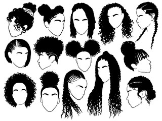 Set of female afro hairstyles. Collection of dreads and afro braids for a girl. Black and white illustration for a hairdrymaker.