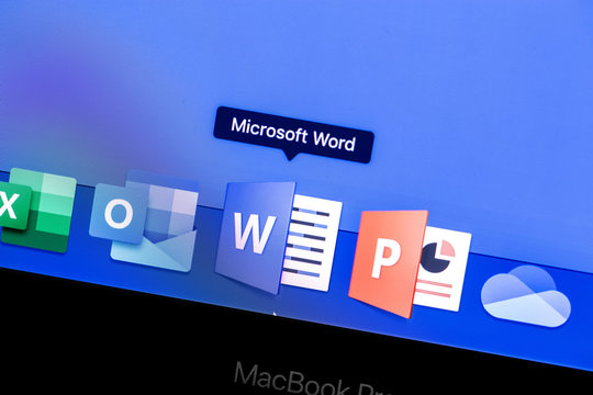 Microsoft Word app on the display MacBook closeup. Microsoft Services. Microsoft Word - a word processor designed to create, view and edit text documents. Moscow, Russia - August 24, 2019