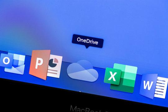 Microsoft OneDrive app on the display MacBook closeup. OneDrive - Microsoft Cloud Storage. Moscow, Russia - August 24, 2019