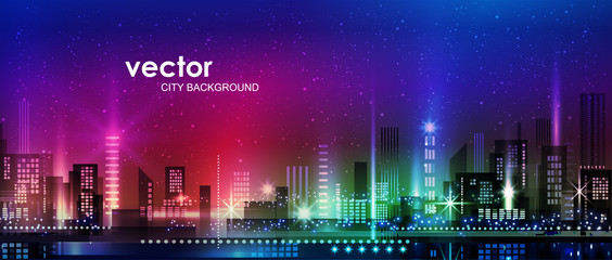 Vector night city illustration with neon glow and vivid colors. Fotomurales
