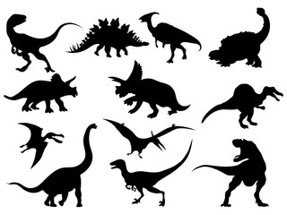 Set of dinosaur silhouettes. Collection of extinct animals. Black and white illustration of dinosaurs for children. Tattoo. Wall mural