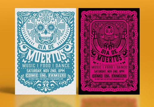 Día de los Muertos Paper Cutout Flyer Set