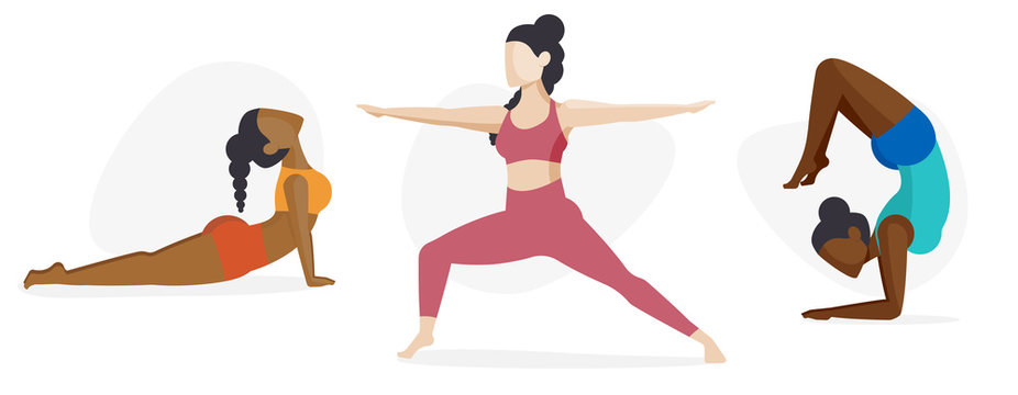 Female Yoga Icon Character Set - Self Care Diversity Concept
