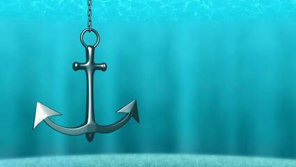 3d illustration. Anchor on the sea background.