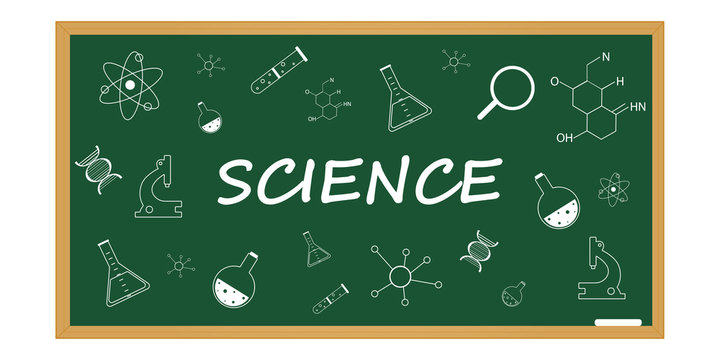 science background on a school blackboard