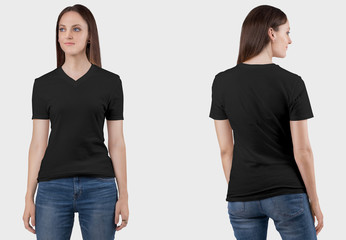 Front and rear view of female model in black plain v neck t shirt and in blue denim jeans pant. Closeup view