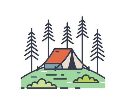 Camping tent in pine woods outline illustration