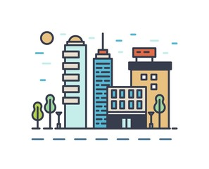 Fototapete - Modern cityscape with various buildings. Linear colorful urban landscape isolated on white background. Town street with skyscrapers, office and residential houses. Vector outline illustration.