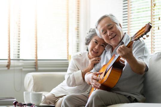 Happy Asian senior Couple enjoying.
