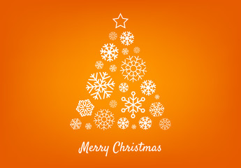 Decorative Digital Orange Christmas Tree Layout