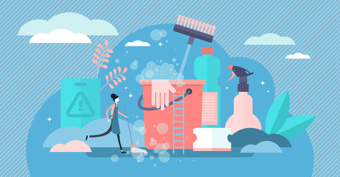 Cleaning vector illustration. Flat tiny dust dirt washing persons concept.