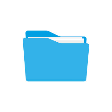 Blue Bright Folder Icon in OS X Yosemite Style. Isolated on white.