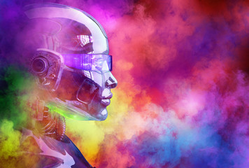 Modern ai humanoid robot cyborg head side view on abstract clouds of color smoke colorful texture background. Advertising design, future technology, humanoid robot artificial intelligence 3D concept