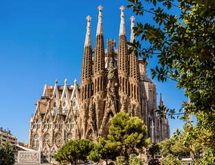 Foto auf Acrylglas Barcelona Cathedral Sagrada Familia (cat. - Temple Expiatori de la Sagrada Família) in Barcelona, Spain.