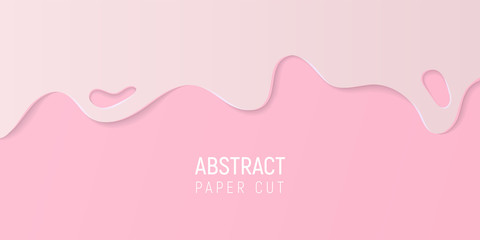 Pink abstract paper cut slime background. Banner with slime abstract background with pink paper cut waves. Vector illustration.