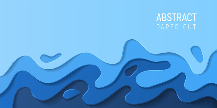 Blue paper cut water abstract background. Banner with 3D abstract paper cut blue waves. Eco friendly design. Vector illustration