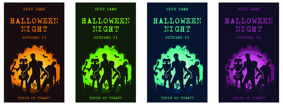 Halloween theme invitation card vector set of 4