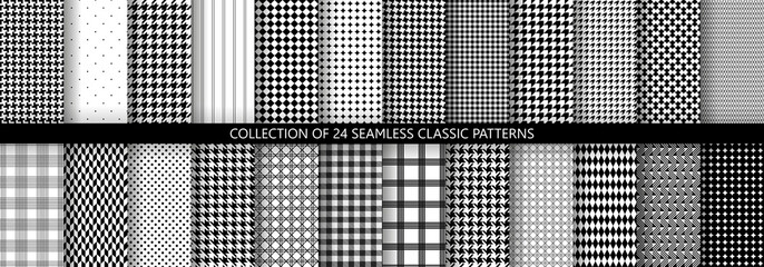 Big collection of classic fashion houndstooth seamless geometric patterns. 24 variations of pied de poule print
