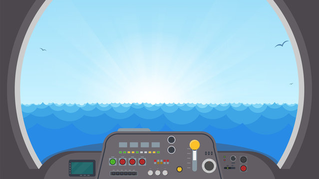 Inside submarine view. Submarine interior with control panel with buttons and lights. View on ocean water trough main submarine window. Spaceship or submarine vector illustration.