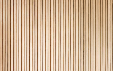 solid wooden battens wall pattern background with natural color finishing