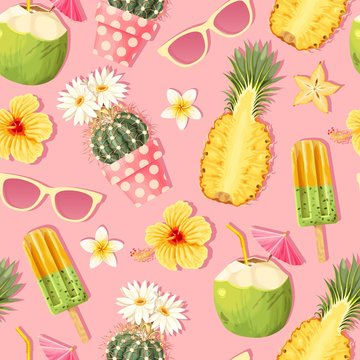 Flowers and exotic fruits vector seamless pattern