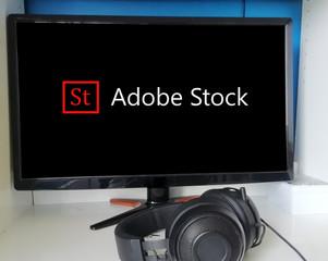 adobe stock, sur écran d'ordinateur ,la roche-sur-yon , le 23 septembre 2019