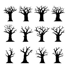 Silhouette Dead Tree without Leaves collection isolated on white. Vector element about natural and horror theme.