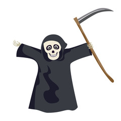 Grim reaper in black cloak with hood and a scythe isolated on a white background. Smiling skull. Vector illustration of funny cartoon character in simple flat style.