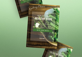 Cooking Poster Layout with Green Elements