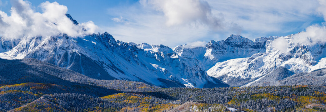 Panoramic of the San Juan Mountain Range. Beautiful and Colorful Colorado Rocky Mountain Autumn Scenery