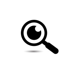 Magnifying glass with eye vector icon, isolated