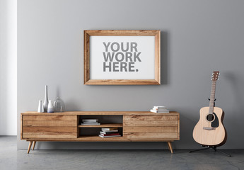 Horizontal Wooden Frame Mockup with Contemporary Furniture