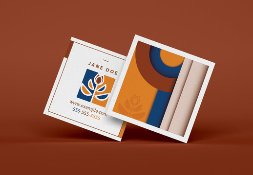 Square Business Card Layout with Geometric Elements