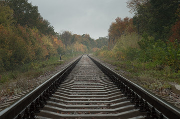 Wall Murals Railroad Autumn railway. Rails extending into the distance. prospect of estrangement