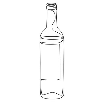 Continuous line drawing. Bottle of wine. Vector illustration.