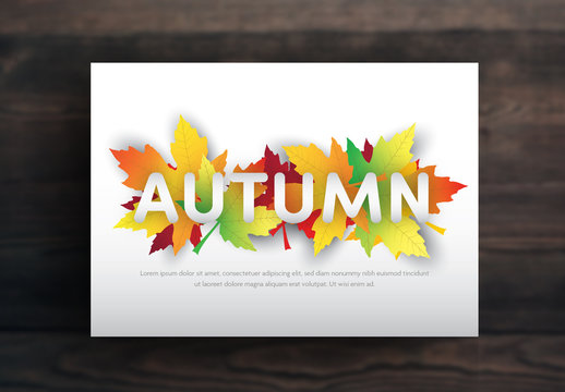 Card Layout with Autumn Leaf Illustrations