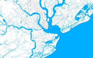 Rich detailed vector map of Charleston, South Carolina, USA