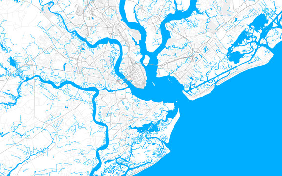 Rich detailed vector map of Charleston, South Carolina, USA