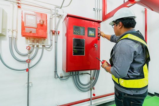 Engineer check generator pump controller for water sprinkler piping and fire protection system.