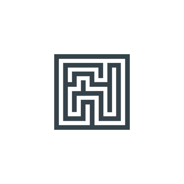 square maze concept logotype template design. Business logo icon shape. square maze simple illustration