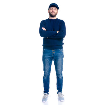 Man in jeans shorts, cap, casual clothing standing smiling on white background isolation