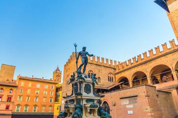 Neptune Fountain Fontana del Nettuno and Palazzo Re Enzo palace building on Piazza del Nettuno...