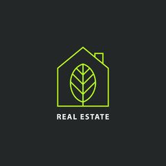 Green real estate logo isolated.  House vector image