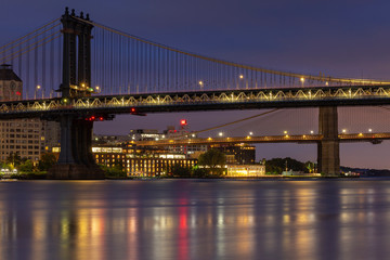 Brooklyn and Manhattan Bridges from East river at night with long exposure