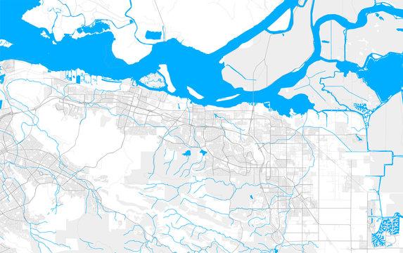 Rich detailed vector map of Antioch, California, USA