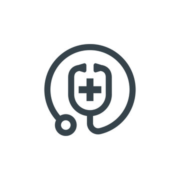 medic stethoscope concept logotype template design. Business logo icon shape. medic stethoscope simple illustration