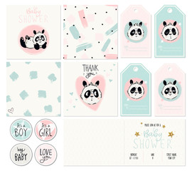 Happy birthday, baby shower for newborn celebration greeting and invitation card or note, stickers and patterns. Vector illustrations with cute panda emotions, hearts, stars. For girls and boys