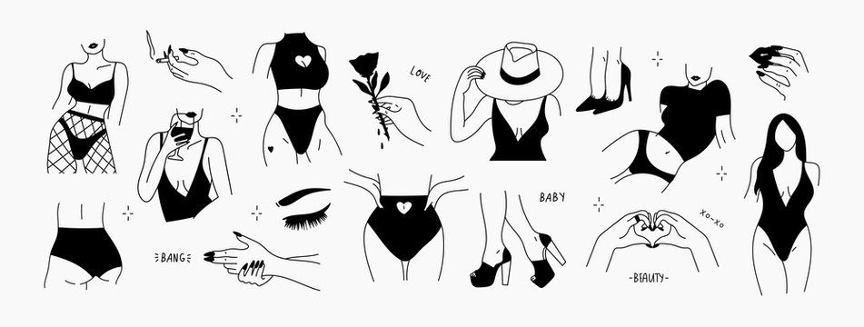Stylish graceful faceless lady. Hand drawn outline body parts. Female logos, graphic icons. Black vector trendy illustration. All elements are isolated