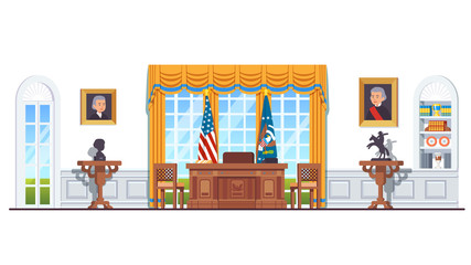 US white house oval office with USA flags