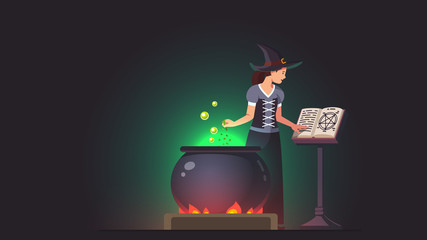 Witch adding poison ingredient to potion brew